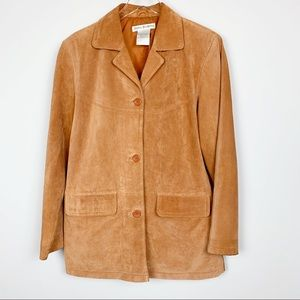 Vintage Suede Leather Jacket Boho Front Button S